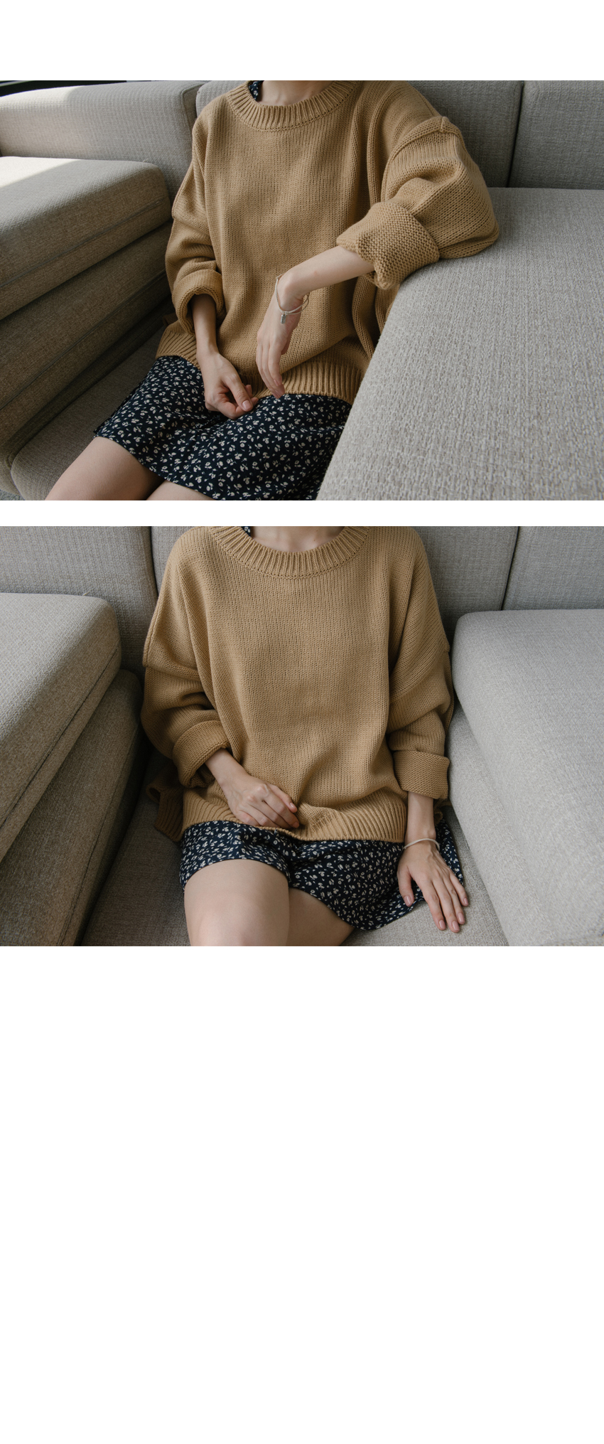 Baggy Round Neck Knit Sweater|